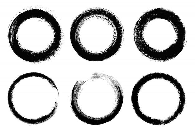 Conjunto de círculos do grunge Vetor Premium