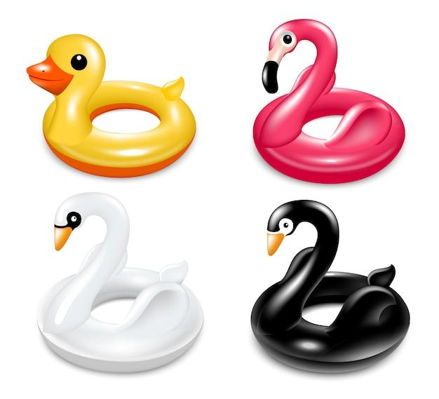 Conjunto de círculos infláveis para nadar na piscina. Vetor Premium