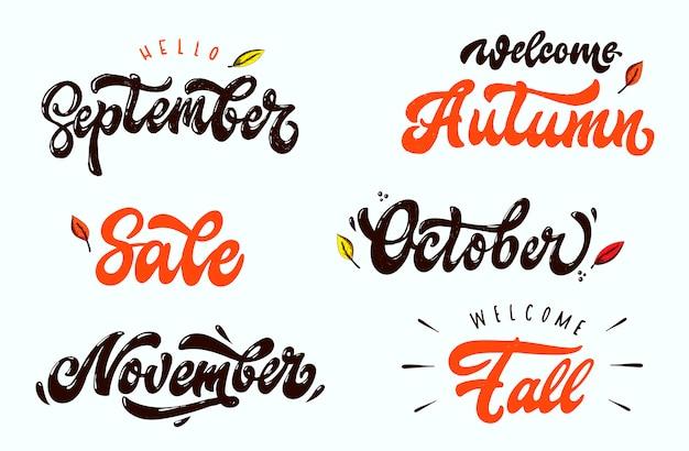 Conjunto de citações de letras de outono Vetor Premium