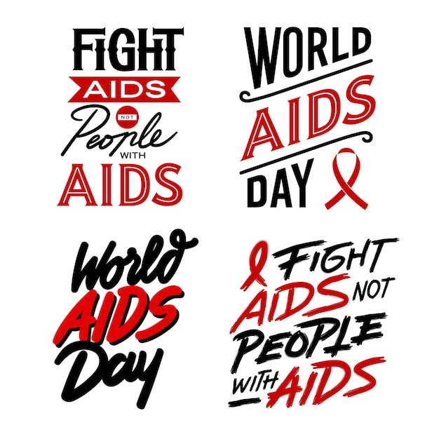 Conjunto de citações de letras do dia mundial da aids Vetor Premium