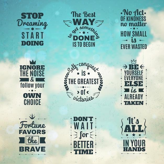 Conjunto de citações de motivação atemporal Vetor grátis