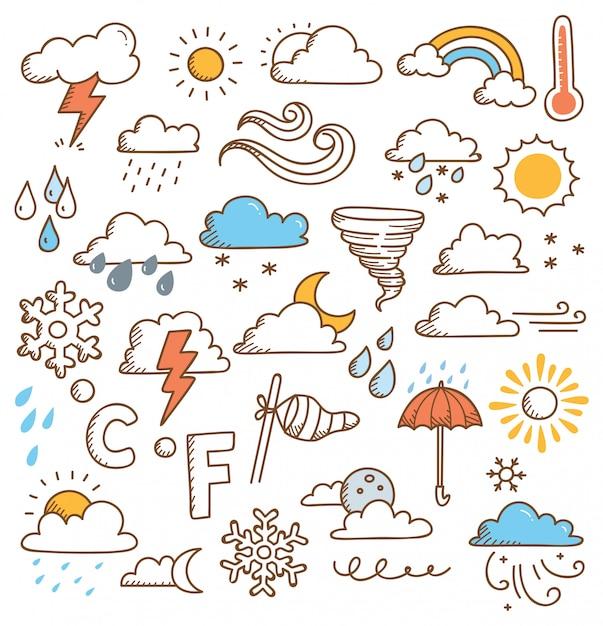 Conjunto de clima doodles ilustração Vetor Premium