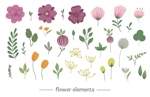 Conjunto de clip-art floral vetor. ilustração na moda plana com flores, folhas, galhos. prado, bosques, elementos da floresta isolados Vetor Premium