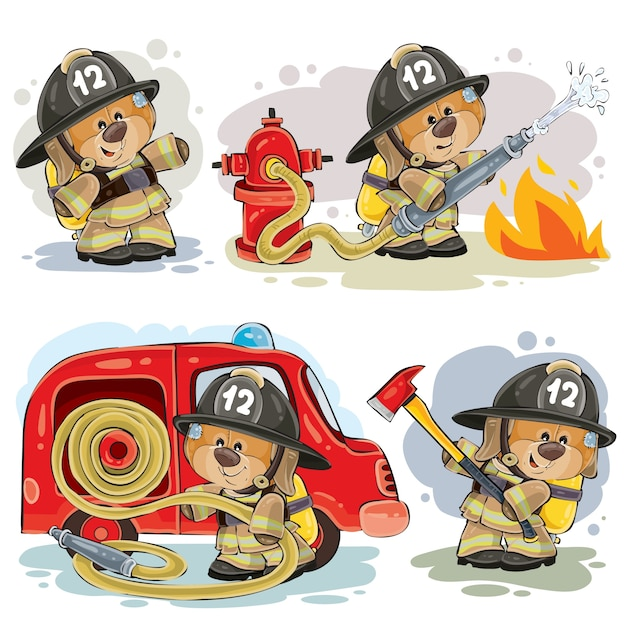 Conjunto de clip art vetorial de teddy bear fireman Vetor grátis