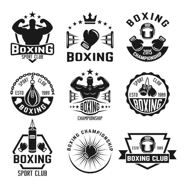 Conjunto de clube de boxe de etiquetas monocromáticas, distintivos, emblemas e logotipos isolados no branco Vetor Premium