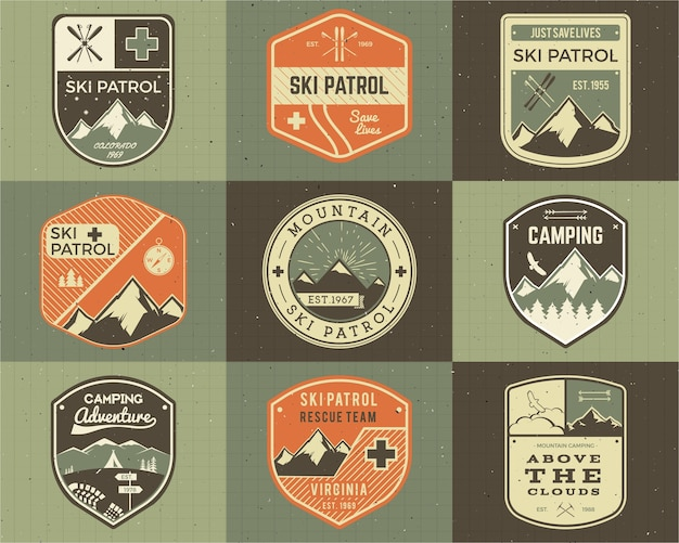 Conjunto de clube de esqui de estilo retro, etiquetas de patrulha. elementos clássicos da montanha. Vetor Premium