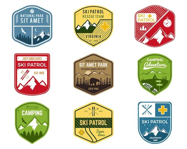Conjunto de clube de esqui, etiquetas de patrulha. Vetor Premium