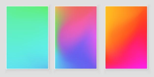 Conjunto de cobertura abstrata gradiente de cores brilhantes Vetor Premium