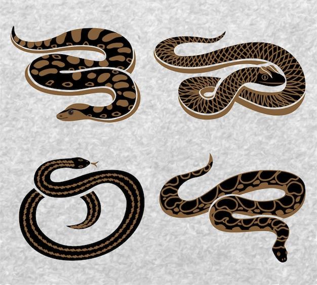 Conjunto de cobras pretas Vetor grátis