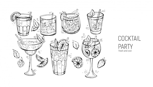 Conjunto de cocktails alcoólicos clássicos. Vetor Premium