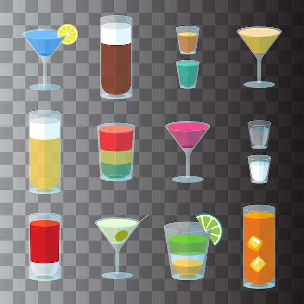 Conjunto de cocktails em copos transparentes Vetor Premium