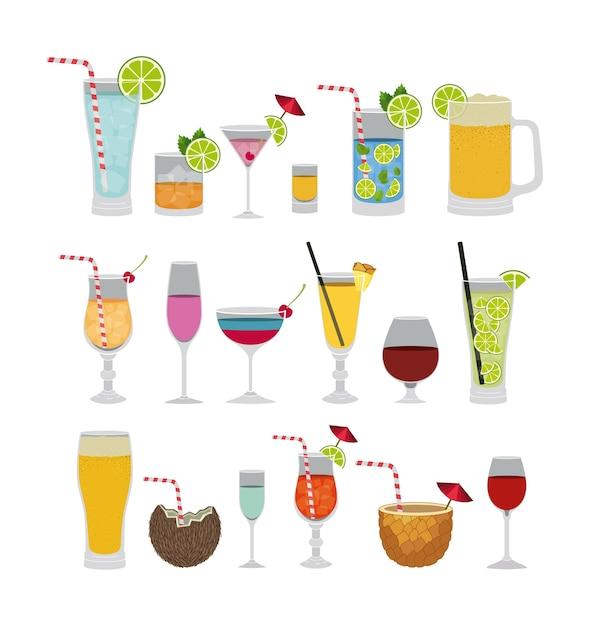 Conjunto de cocktails tropicais ícones Vetor Premium
