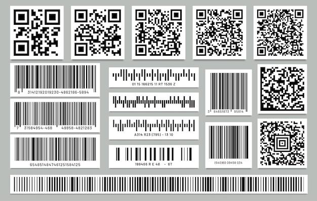Conjunto de código de barras retângulo isolado e código qr quadrado. Vetor Premium