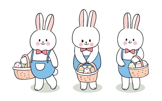 Conjunto De Coelhos De Dia De Pascoa Bonito Dos Desenhos Animados