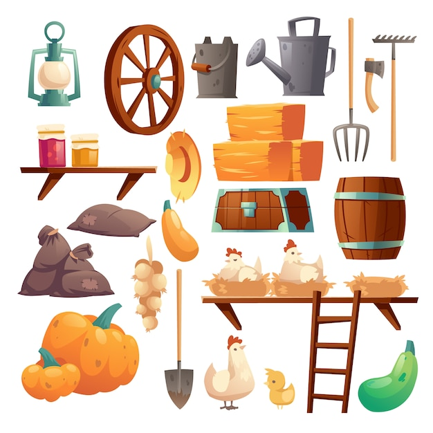 Conjunto de coisas de celeiro, frango e pintinhos, coisas de fazenda Vetor grátis
