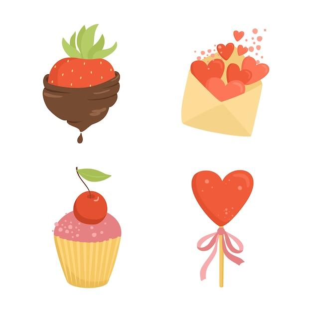 Conjunto de coisas românticas, doces, morangos no chocolate Vetor grátis