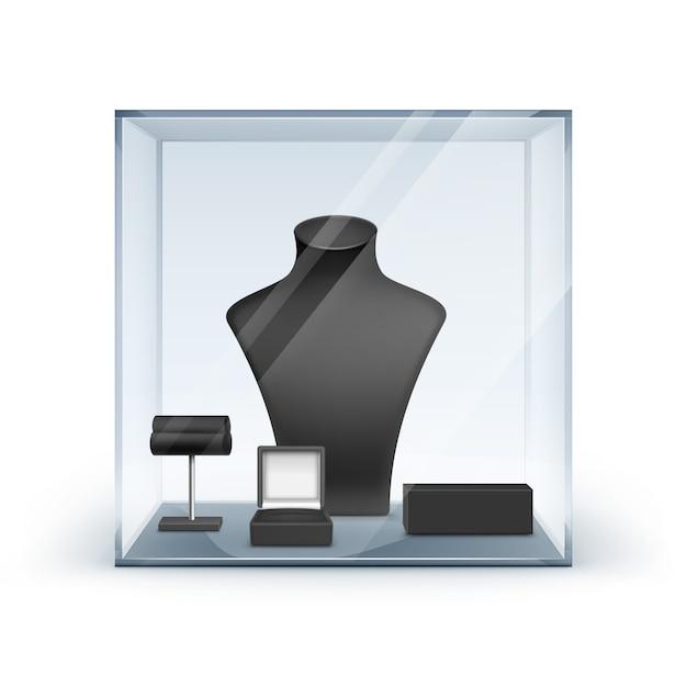 Conjunto de colar preto brincos e pulseira stand para jóias Vetor Premium