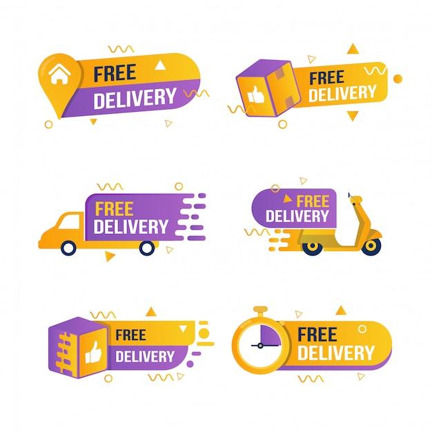 Conjunto de coleção de adesivos de entrega gratuita Vetor Premium
