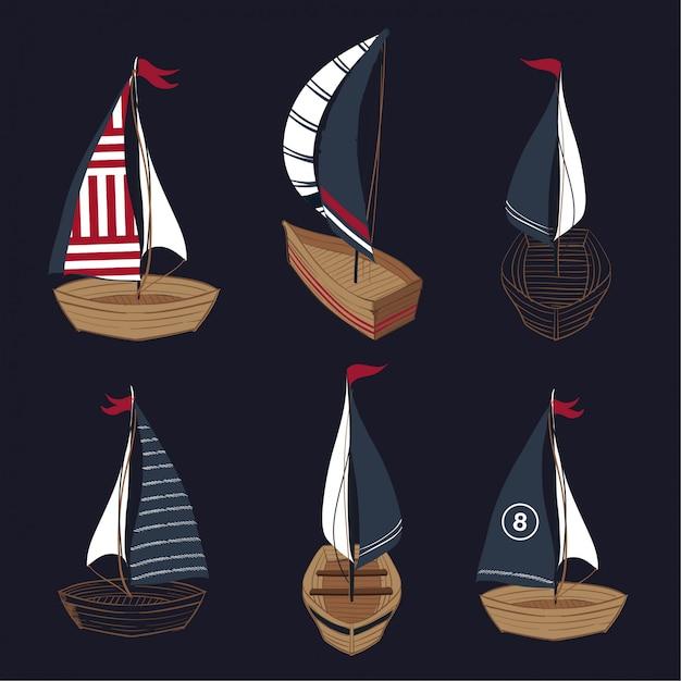 Conjunto de coleção de barco de verão mão desenhada Vetor Premium