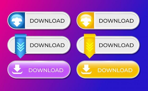 Conjunto de coleção de botões de download para modelo de interface do usuário Vetor Premium