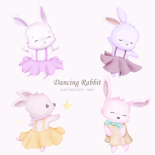 Conjunto de coleção de coelhos dançando com ilustração em aquarela Vetor Premium