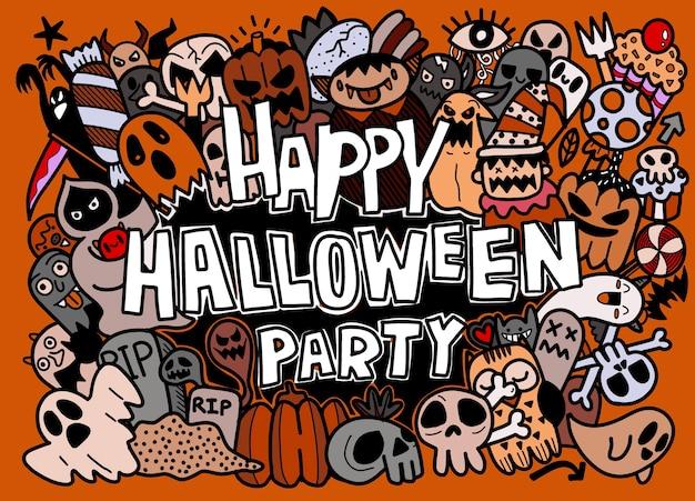 Conjunto de coleção de desenhos animados doodle desenhado à mão de um ícone engraçado sobre o dia de halloween Vetor Premium