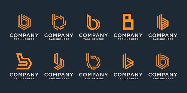 Conjunto de coleção de design de logotipo criativo letra b. Vetor Premium