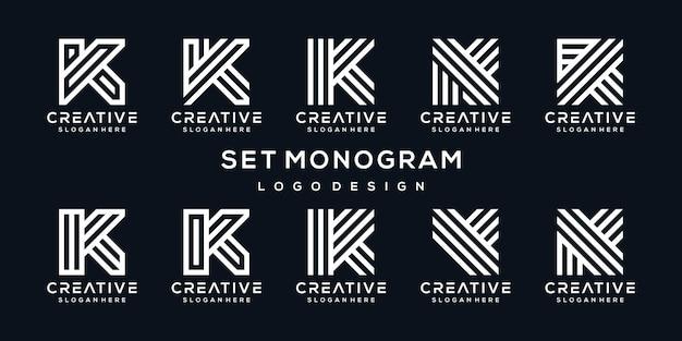 Conjunto de coleção de design de logotipo criativo letra k Vetor Premium