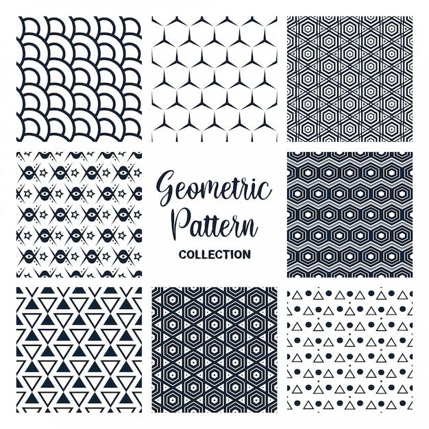 Conjunto de coleção de design de vetor de padrões sem emenda Vetor Premium