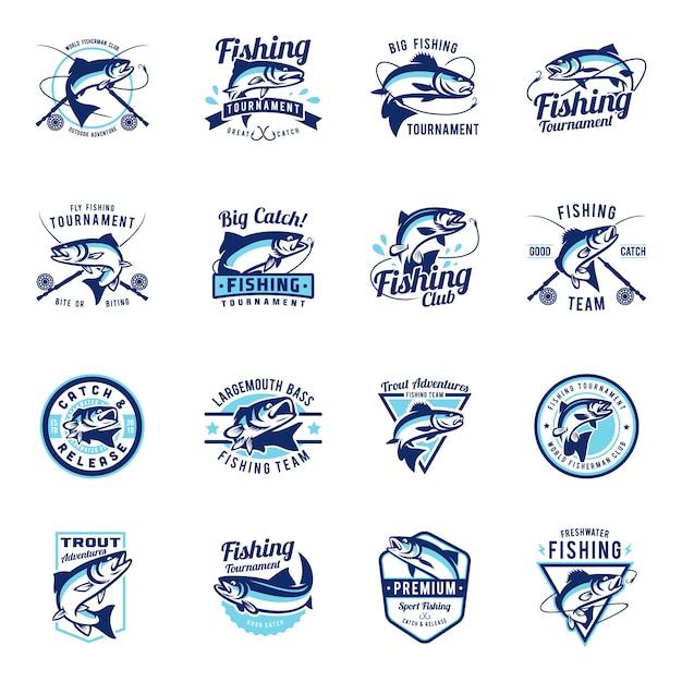 Conjunto de coleção de emblema de distintivo de pesca Vetor Premium
