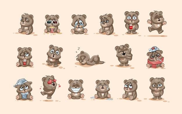 Conjunto de coleção de kit ilustrações isoladas emoji personagem dos desenhos animados urso adesivos emoticons com emoções diferentes Vetor Premium