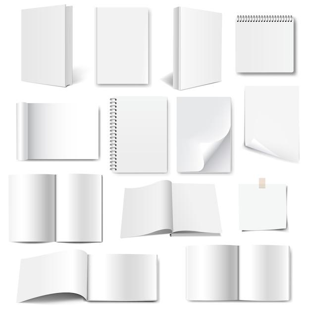 Conjunto de coleção de livros com fundo branco isolado com malha gradiente Vetor Premium