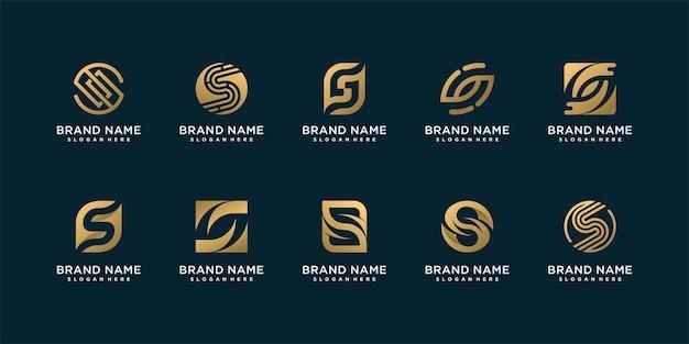 Conjunto de coleção de logotipo da lletter s com conceito criativo Vetor Premium