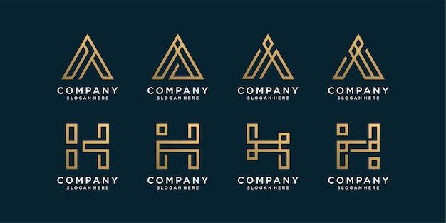 Conjunto de coleção de logotipo das letras a e h do monograma com estilo de arte de linha dourada Vetor Premium