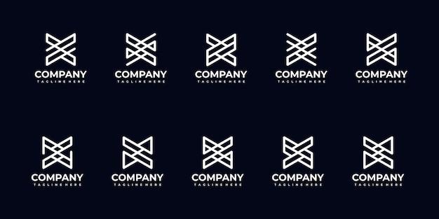 Conjunto de coleção de logotipo de carta de monograma abstrato para empresa Vetor Premium