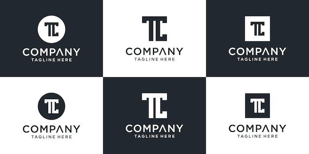 Conjunto de coleção de logotipo letter tc com estilo clean, arrojado e único Vetor Premium