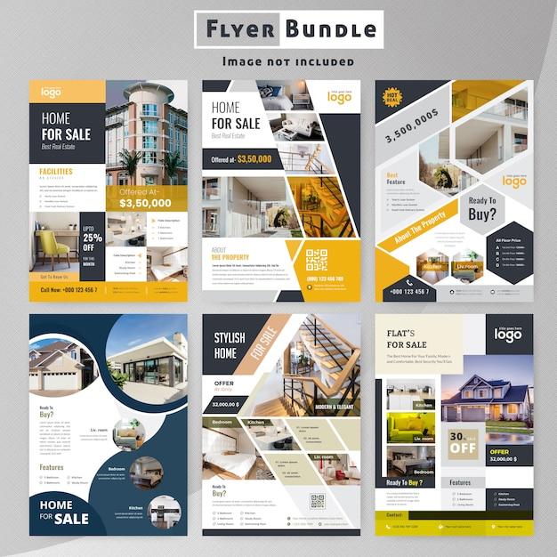 Conjunto de coleção de modelo de folheto de imóveis Vetor Premium