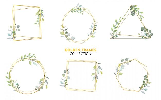 Conjunto de coleção de molduras douradas com design floral Vetor Premium