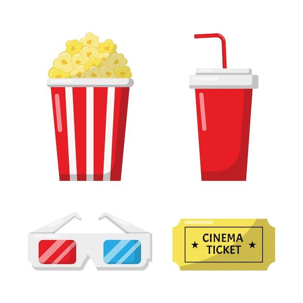 Conjunto de coleção de sinais e símbolos de ícones de cinema para sites isolados no fundo branco. Vetor Premium