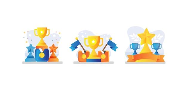 Conjunto de coleção de troféus e medalhas Vetor Premium