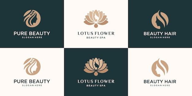 Conjunto de coleção feminina luxo beleza rosto mulheres flor de lótus e design de logotipo de folha Vetor Premium