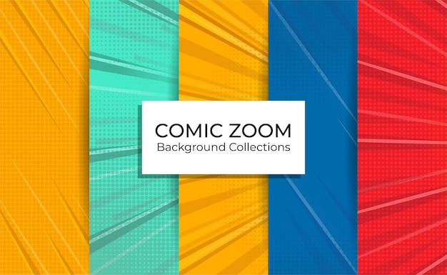 Conjunto de coleções de fundo de zoom em quadrinhos com linhas de foco vazias. Vetor Premium