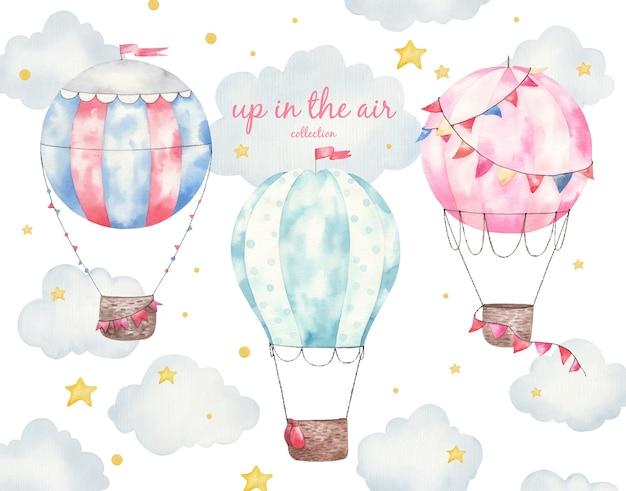 Conjunto de coleta de balões coloridos, ilustração de aquarela infantil, decoração de quarto infantil, impressão Vetor Premium