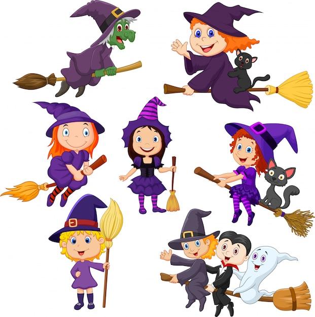 Conjunto de coleta de bruxas jovens halloween Vetor Premium
