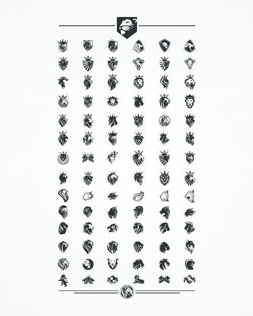 Conjunto de coleta de cabeça de leão, logotipo, ícone, vetor Vetor Premium