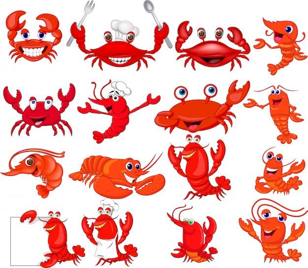 Conjunto de coleta de camarão e caranguejo de desenhos animados Vetor Premium