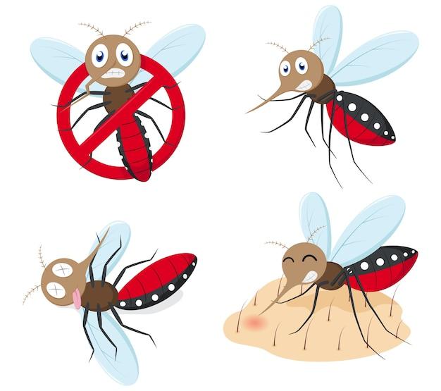 Conjunto de coleta de desenhos animados de mosquito Vetor Premium
