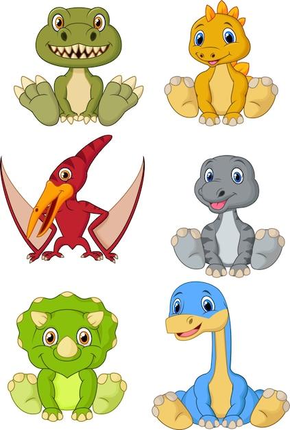Conjunto de coleta de desenhos animados dinossauros bebê fofo Vetor Premium