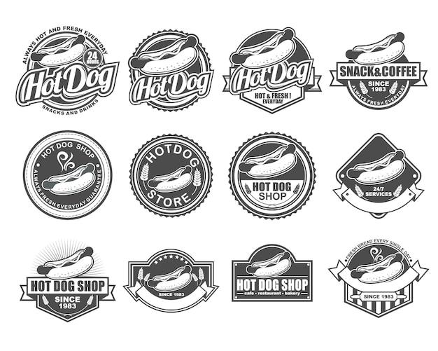 Conjunto de coleta de design de distintivo de vetor para hot dog shop Vetor Premium