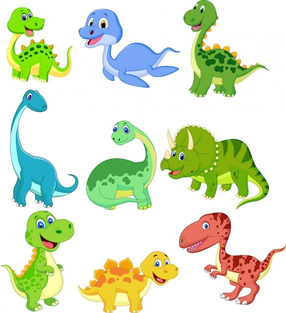 Conjunto de coleta de dinossauros dos desenhos animados Vetor Premium